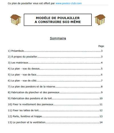 Plan Poulailler Un Plan Gratuit Format Pdf A Telecharger